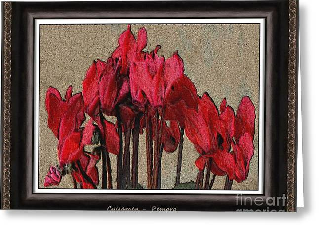 Modern Art Greeting Cards - Cyclamen C29y2 Greeting Card by Pemaro
