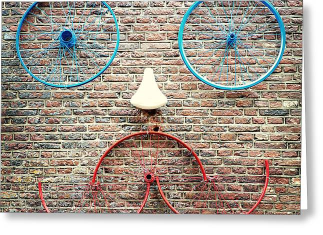 Blue Bike Greeting Cards - Cycle face Greeting Card by Jane Rix