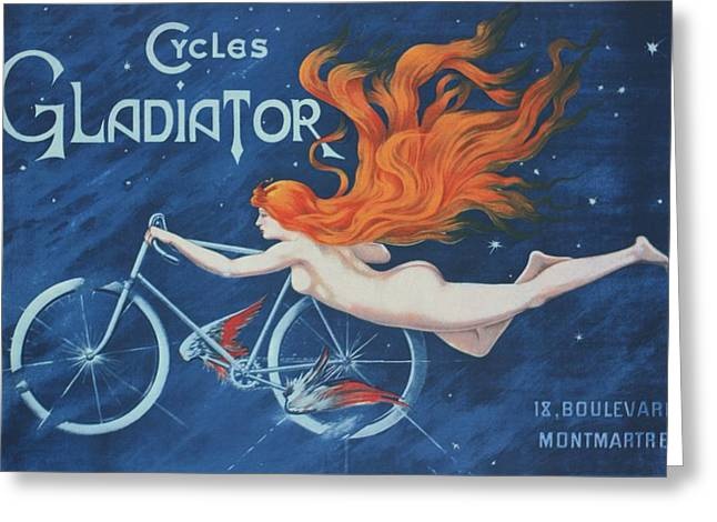 Posters Of Nudes Greeting Cards - Cycle Gladiator Greeting Card by Roger Cummiskey