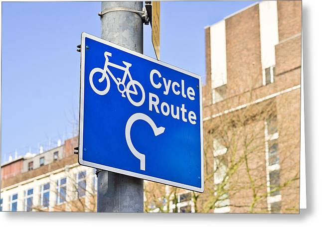 Environmentally Friendly Greeting Cards - Cycle route Greeting Card by Tom Gowanlock