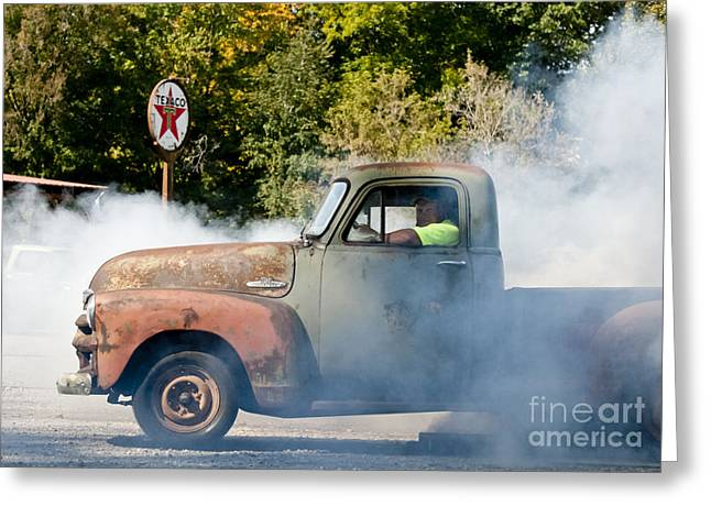 Cyclemos Rat Rod Burnout Pit  Greeting Card by Wilma  Birdwell