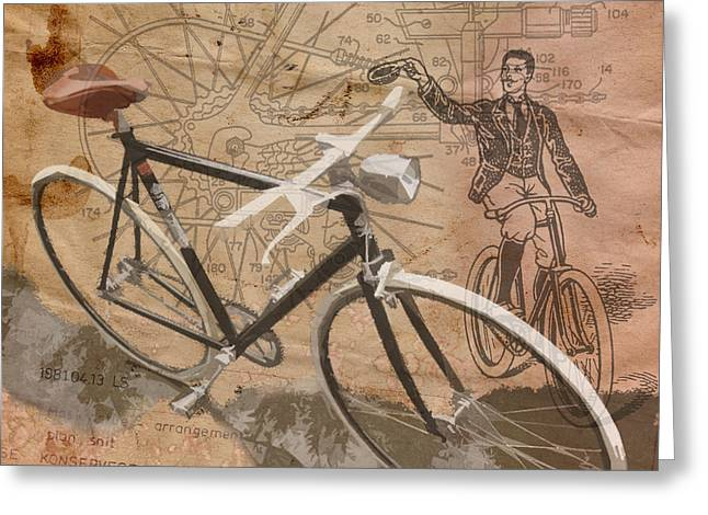 Chic Digital Greeting Cards - Cycling Gent Greeting Card by Sassan Filsoof