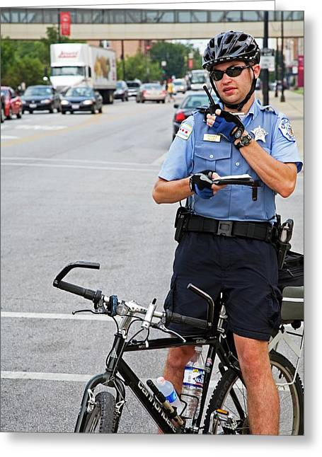Cycling Policeman Greeting Card by Jim West