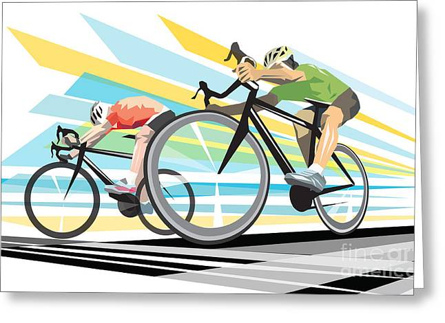 Cog Greeting Cards - Cycling sprint poster print Finish Line Greeting Card by Sassan Filsoof