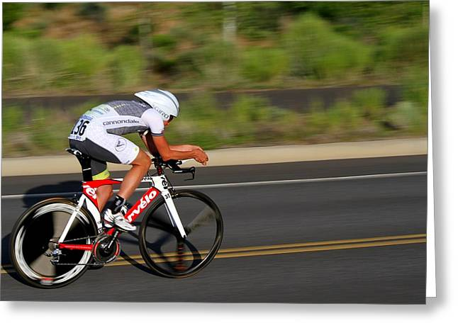 Time Trials Greeting Cards - Cycling Time Trial Greeting Card by Kevin Desrosiers