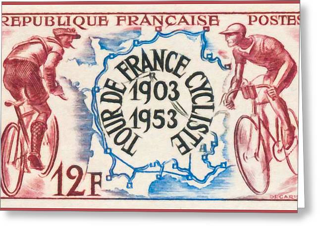 """france Poster"" Greeting Cards - Cycling Tour De France 1903-1953 Greeting Card by Lanjee Chee"
