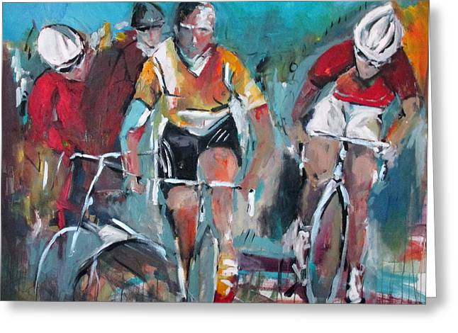 Cycling Art Paintings Greeting Cards - Cycling Trinity Greeting Card by John Gholson