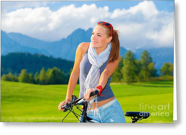 Pushbike Greeting Cards - Cyclist girl in mountains Greeting Card by Anna Omelchenko
