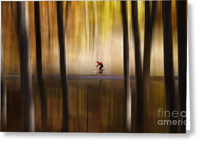 Merging Greeting Cards - Cyclist in the forest Greeting Card by Yuri Santin