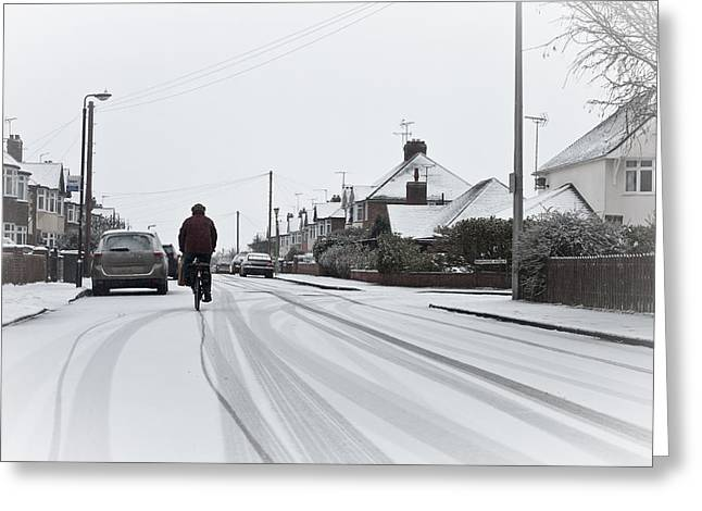 Snowstorm Greeting Cards - Cyclist in the snow Greeting Card by Tom Gowanlock