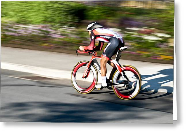 Time Trials Greeting Cards - Cyclist Racing the Clock Greeting Card by Kevin Desrosiers