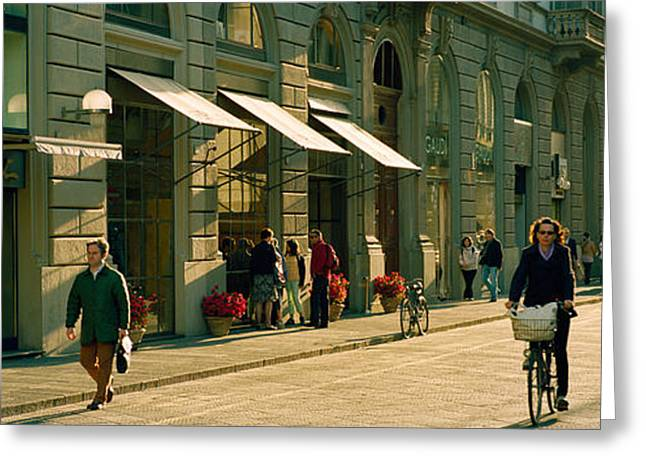 Awning Photographs Greeting Cards - Cyclists And Pedestrians On A Street Greeting Card by Panoramic Images