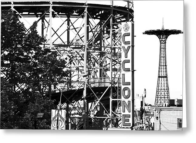 Cyclone At Coney Island Greeting Card by John Rizzuto