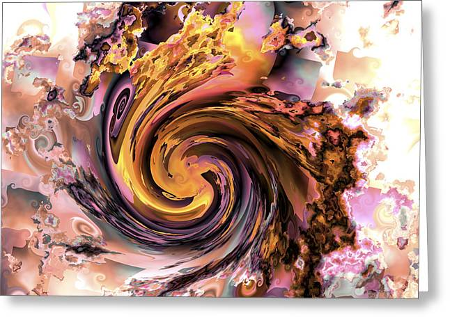 Colorful Abstract Algorithmic Contemporary Greeting Cards - Cyclone of color Greeting Card by Claude McCoy