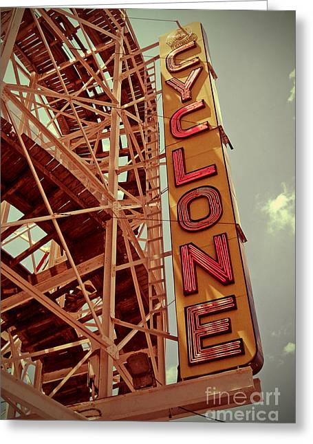 Roadside Art Greeting Cards - Cyclone Roller Coaster - Coney Island Greeting Card by Jim Zahniser