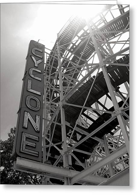 Amusements Digital Art Greeting Cards - Cyclone Rollercoaster - Coney Island Greeting Card by Jim Zahniser