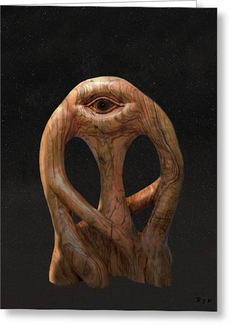 Olive Wood Sculpture Mixed Media Greeting Cards - Cyclops in the stars Greeting Card by Eric Kempson