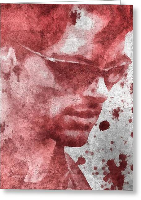 Xmen Greeting Cards - Cyclops X Men Paint Splatter Greeting Card by Dan Sproul