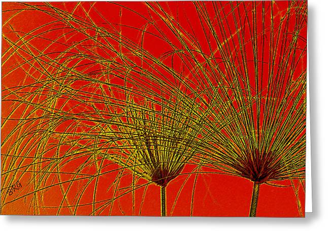 Yellow Line Greeting Cards - Cyperus Papyrus Abstract Greeting Card by Ben and Raisa Gertsberg