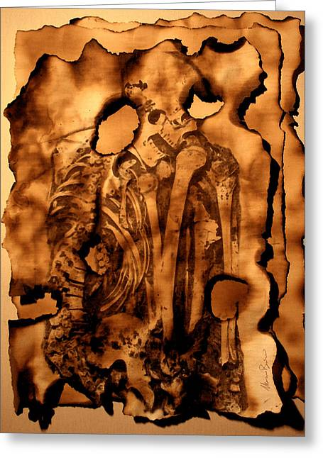 Anatomical Mixed Media Greeting Cards - CYPHERS and FLAMES LOST PAGES Greeting Card by Mariano Baino