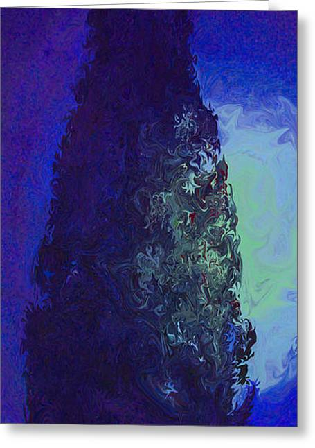 Landscape Posters Greeting Cards - Cypress and moon Greeting Card by Enrique Amat