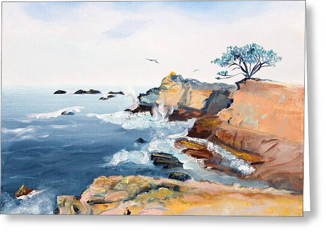 Cliffs Over Ocean Greeting Cards - Cypress and Seagulls Greeting Card by Asha Carolyn Young