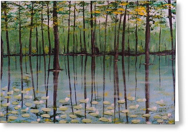 Trees Reflecting In Water Paintings Greeting Cards - Cypress Garden Greeting Card by Richard Goohs