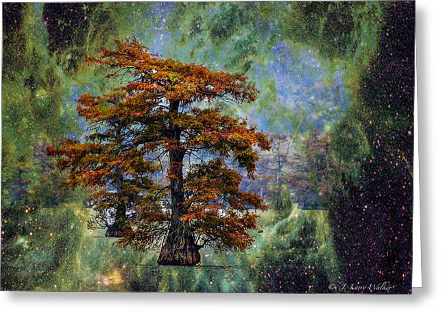 Cypress Tree Digital Art Greeting Cards - Cypress In All Its Glory Greeting Card by J Larry Walker