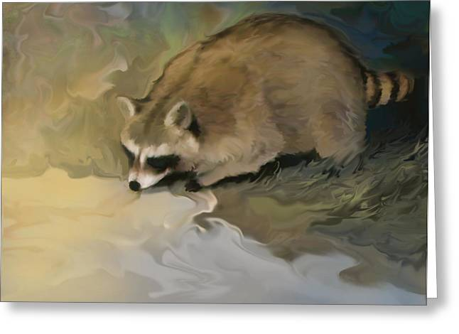 Nocturnal Animal Print Greeting Cards - Cypress Raccoon Greeting Card by Curtis Chapline