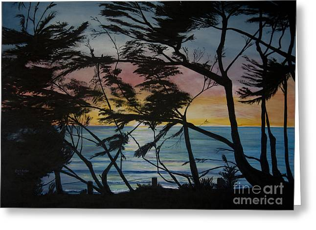 Cypress Trees At Sunset Greeting Card by Ian Donley
