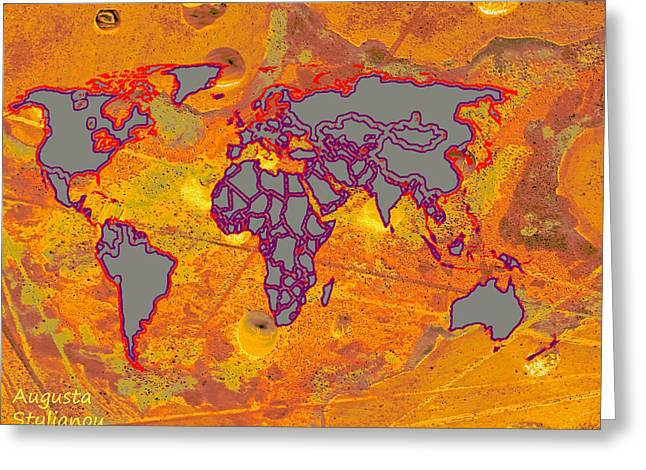 Old Map Digital Art Greeting Cards - Cyprus and World Map  Greeting Card by Augusta Stylianou