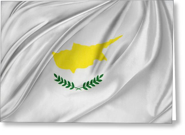Abstract Waves Photographs Greeting Cards - Cyprus flag Greeting Card by Les Cunliffe