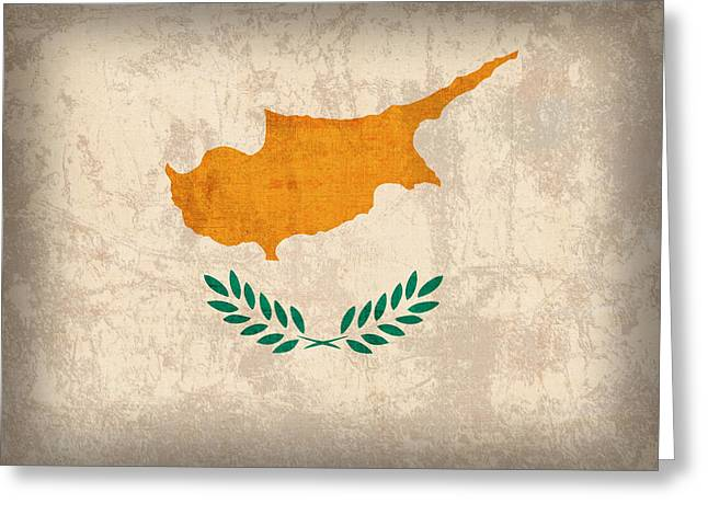 Cyprus Flag Vintage Distressed Finish Greeting Card by Design Turnpike