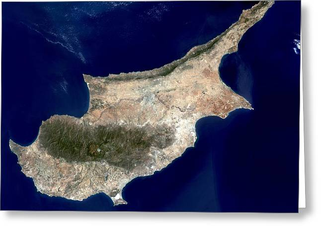 Land Use Greeting Cards - Cyprus, satellite image Greeting Card by Science Photo Library