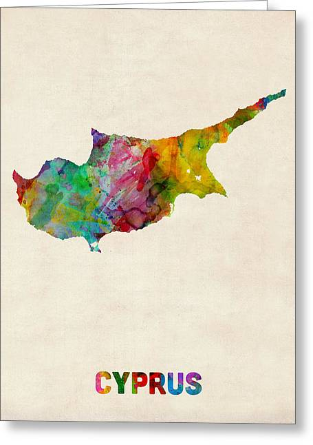 Abstract Map Digital Art Greeting Cards - Cyprus Watercolor Map Greeting Card by Michael Tompsett