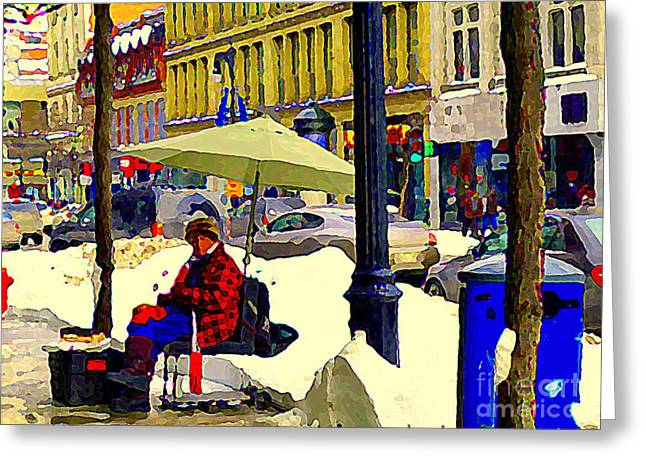 St.catherine Street Greeting Cards - Cyrille The Spoonman Famous Busker Ogilvys St Catherine Street Musician Downtown Scene C Spandau Greeting Card by Carole Spandau