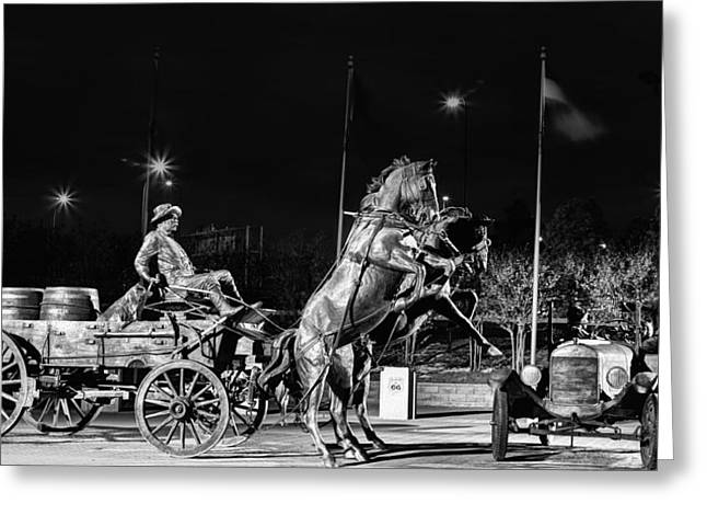Horse And Cart Greeting Cards - Cyrus Avery Centennial Plaza Greeting Card by JC Findley