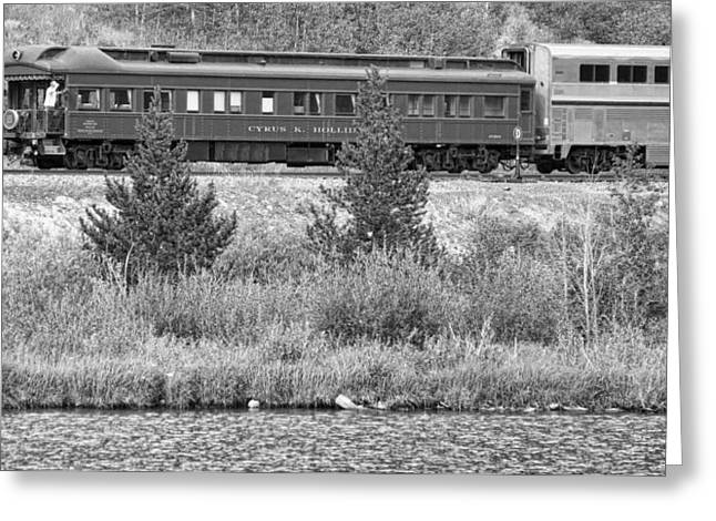 Old Caboose Greeting Cards - Cyrus K  Holliday Private Rail Car BW Greeting Card by James BO  Insogna
