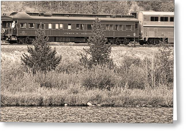 Old Caboose Greeting Cards - Cyrus K  Holliday Private Rail Car BW Sepia Greeting Card by James BO  Insogna