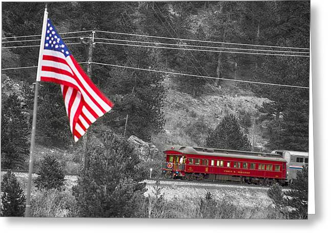 Old Caboose Greeting Cards - Cyrus K. Holliday Rail Car and USA Flag BWSC Greeting Card by James BO  Insogna