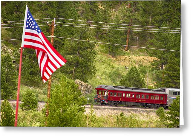 Old Caboose Greeting Cards - Cyrus K. Holliday Rail Car and USA Flag Greeting Card by James BO  Insogna