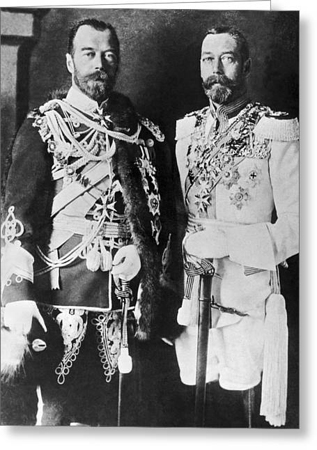 Czar Nicholas And King George V Greeting Card by Underwood Archives