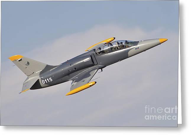 Hradec Greeting Cards - Czech Air Force Aero L-39c Albatros Jet Greeting Card by Timm Ziegenthaler