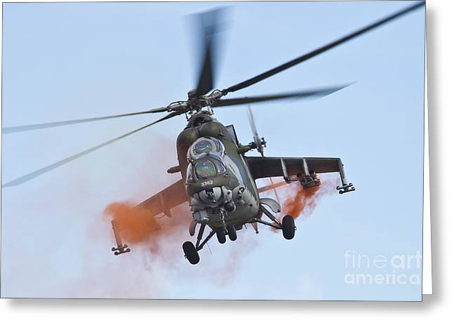 Hradec Greeting Cards - Czech Air Force Mi-35 Hind Helicopter Greeting Card by Timm Ziegenthaler