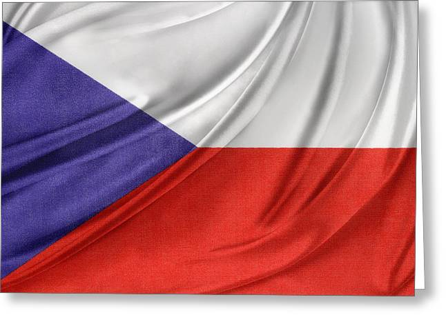 Czech Flag Greeting Cards - Czech Republic flag Greeting Card by Les Cunliffe