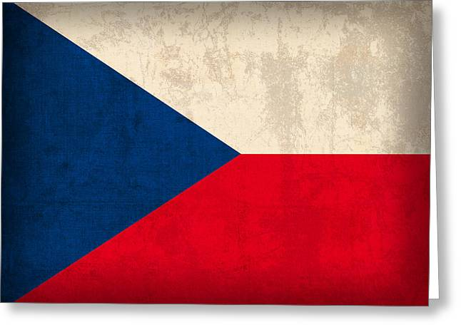 Czech Flag Greeting Cards - Czech Republic Flag Vintage Distressed Finish Greeting Card by Design Turnpike