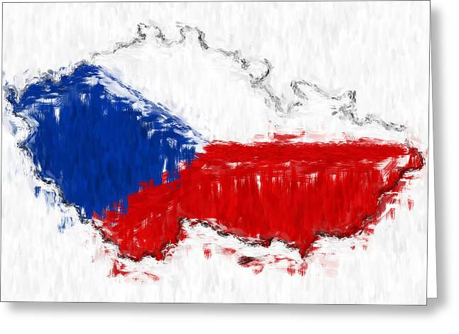 Czech Flag Greeting Cards - Czech Republic Painted Flag Map Greeting Card by Antony McAulay