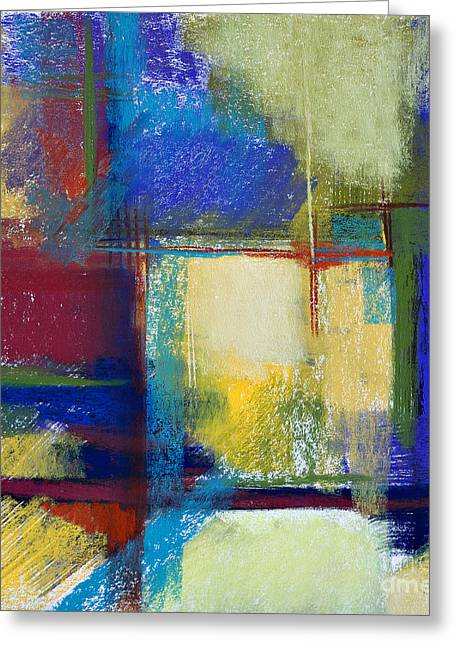 Contemporary Abstract Pastels Greeting Cards - City Windows Greeting Card by Tracy L Teeter