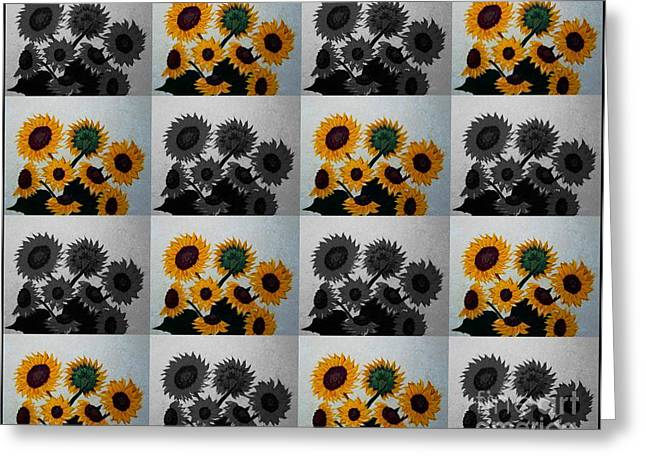 Tiled Tapestries - Textiles Greeting Cards - Tiled Sunflowers Duvet Cover Greeting Card by Barbara Griffin