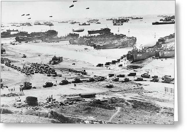 D-day Landings Beachhead Greeting Card by Library Of Congress
